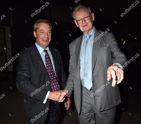 19 10 15 'Call Me Dave' at Arrivals at Altitude 360 Millbank Tower Westminster For Lord Michael Ashcroft's Book Launch Nigel Farage with Stuart Wheeler