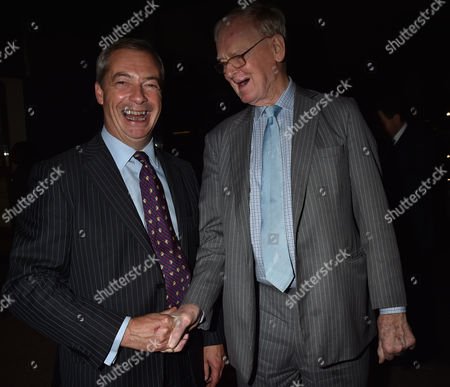 Stock Image of 19 10 15 'Call Me Dave' at Arrivals at Altitude 360 Millbank Tower Westminster For Lord Michael Ashcroft's Book Launch Nigel Farage with Stuart Wheeler