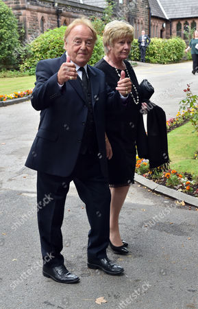 Stock Picture of 20 08 15 Cilla Black's Funeral at St Mary's Church Woolton Liverpool Scenes After the Service Gerry Marsden