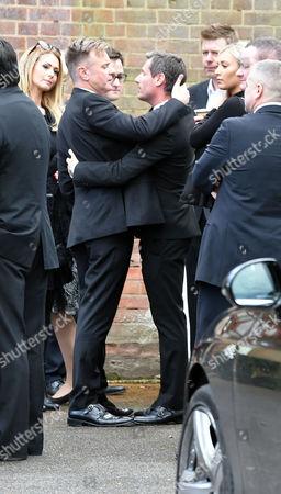Denise Welch29 04 16 David Gest Funeral at Golders Green Crematorium Darren Day and Dean Gaffney