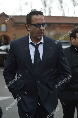 29 04 16 David Gest Funeral at Golders Green Crematorium Coronation Street Actor Jimmi Harkishin