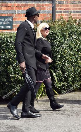 Denise Welch29 04 16 David Gest Funeral at Golders Green Crematorium Vanessa Feltz & Ben Ofoedu