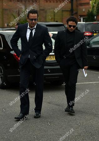 29 04 16 David Gest Funeral at Golders Green Crematorium Coronation Street Actors Jimmi Harkishin and Ryan Thomas