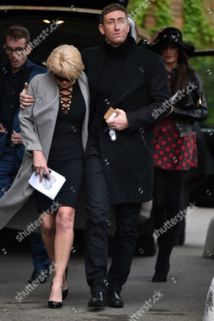 Stock Image of 29 04 16 David Gest Funeral at Golders Green Crematorium Danniella Westbrook Looked Distraught As She Left the Service in the Arms of Her Close Friend Christopher Maloney