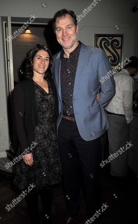 16 11 15 Derren Brown's Miracle Gala Night After Party at Kettner's Romilly Street Soho David Morrissey with His Wife Esther Freud