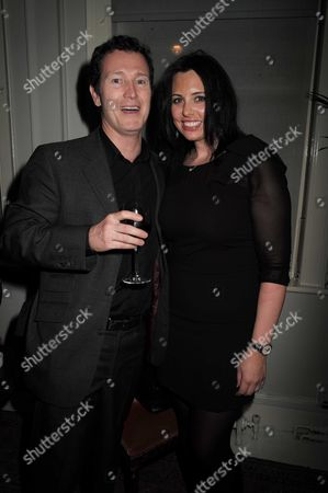 16 11 15 Derren Brown's Miracle Gala Night After Party at Kettner's Romilly Street Soho Nick Moran with His Wife Dr Jasmin Duran