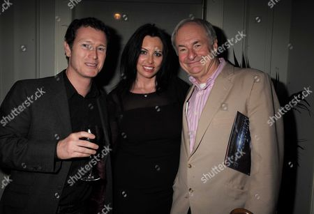 16 11 15 Derren Brown's Miracle Gala Night After Party at Kettner's Romilly Street Soho Nick Moran with His Wife Dr Jasmin Duran with Paul Gambaccini