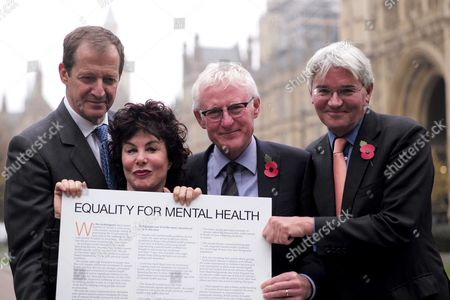 02 11 15 Alastair Campbell Ruby Wax Norman Lamb and Andrew Mitchell at College Green to Mark the Announcement of an Open Letter Calling For Equality Between Physical and Mental Health the Centrepiece of A New Campaign in Advance of the Government Spending Round