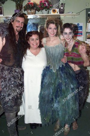 First Night of 'A Midsummer's Night Dream' at the Albery Theatre with the Aftershow Party at Browns St Martins Lane Cast Members in the Dressing Room Michael Siberry Dawn French Jemma Redgrave and Lee Ingleby