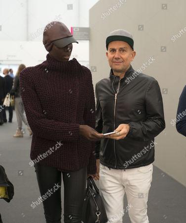 13 10 15 Frieze Art Fair Private View at Regents Park Marc Quinn and Jenny Bastet