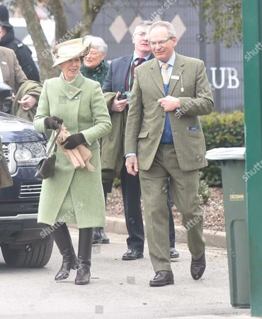 18 03 16 Gold Cup Day at Cheltenham at Cheltenham Race Track Anna the Princess Royal Arrives and It Greeted by Chairman of Cheltenham Robert Waley-cohen