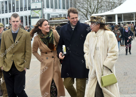 Stock Image of 18 03 16 Gold Cup Day at Cheltenham at Cheltenham Race Track Ben Elliott and His Wife and Mary-clare Winwood with Her Brother and Parents Stevie Windwood and His Wife Eugenia Crafton
