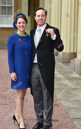 10 11 15 Investiture at Buckingham Palace at Buckingham Palace Nma Rota For the Daily Mail the Most Excellent Order of the British Empire Civil Division to Mr James Murray Wells with His Wife Lottie Fry For Services to Business