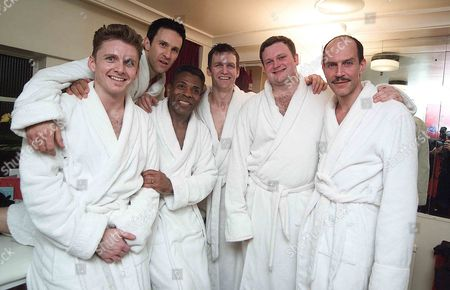 Ist Night of 'The Full Monty' at the Prince of Wales Theatre and the Party at Cc Club Conventry Street the Cast Jarrod Emick Jason Daniely Andre De Shields Roman Fruge John Ellison Conlee & Marcus Neville