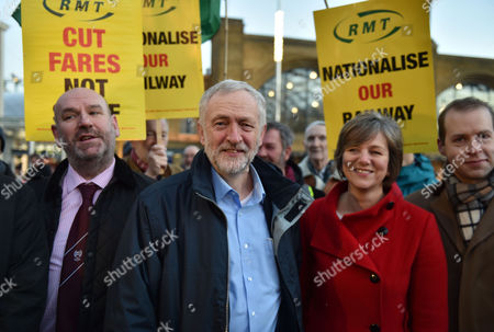 04 01 16 Jeremy Corbyn Joins Tuc Picket Line at Kings Cross Railway Station Labour Leader Jeremy Corbyn Stands with Shadow Secretary of State For Transport Lilian Greenwood ( Red Coat )and Demonstrators at King's Cross Station Calling For Lower Rail Fares