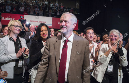 29 09 15 Leaders Speech at Brighton Conference Center Jeremy Corbyn Makes His First Speech at Party Conference As Leader of the Labour Party Watched by Mr Corbyn's Sons Ben and Thomas and His Wife Laura Alvarez