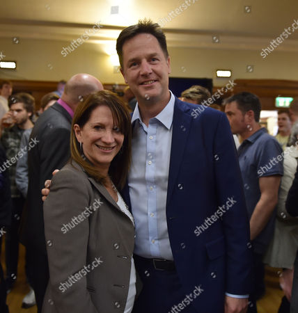 Stock Picture of 16 07 15 the Winner of the Liberal Democrat Leadership Contest at Islington Assembly Hall Lynne Featherstone with Nick Clegg Mp