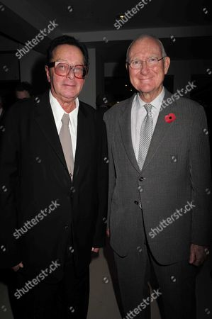 02 11 15 Launch Party For Charles Moore's New Book ' Margaret Thatcher the Authorised Biography Volume Two: ' at M&c Saatchi Golden Square Soho Lord Maurice Saatchi with Lord John Birt