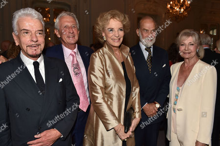 16 07 15 Launch of Robert Lacey's New Book Model Woman: Eileen Ford and the Business of Beauty at the Savile Club Brook Street Mayfair London Nicky Haslam Robert Lacey Princess Michael of Kent Prince Michael of Kent & Lady Jane Rayne Lacey