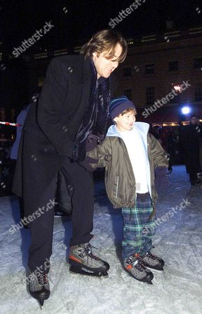 Opening of the Ice Skating at Somerset House Jonathan Ross with His Son Harvey