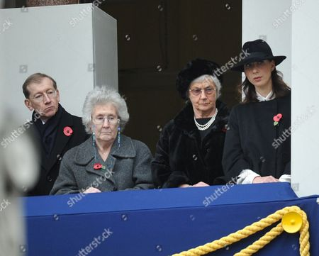 Remembrance Sunday Service at the Cenotaph Whitehall Westminster London Mr Phillip May (l) Mrs Gillian Clarke (2l) Mrs Mary Cameron (2r) Samantha Cameron (r)