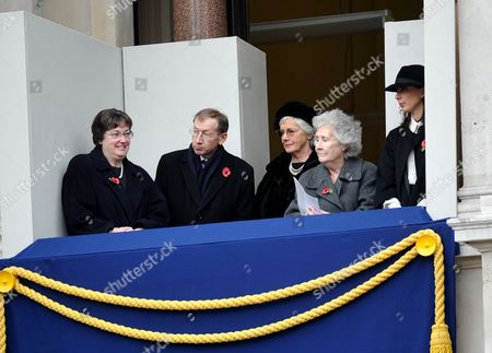 Remembrance Sunday Service at the Cenotaph Whitehall Westminster London Mrs Irene Pickles (l) Mr Phillip May (2l) Mrs Mary Cameron (c) Mrs Gillian Clarke (2r) Samantha Cameron (r)