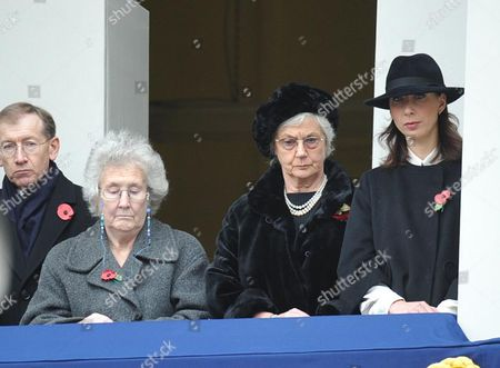 Remembrance Sunday at the Cenotaph Whitehall Westminster London Mr Phillip May Mrs Gillian Clarke Mrs Mary Cameron Mrs Samantha Cameron