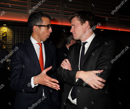 23 11 15 Robert Peston Bbc Leaving Party at the Kings Fund Cavendish Square Kamal Ahmed the Bbc Business Editor with Tristram Hunt Mp