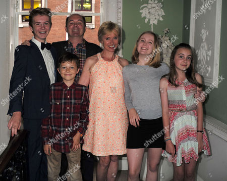 27 07 15 Rosie Millard Book Launch For Her New Book the Square at the House of St Barnabas Greek St Soho London Rosie with Her Husband Pip Clothier and Their 4 Children Phoebe Gabriel Honey and Lucien