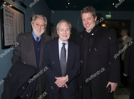13 01 16 Screening of Attacking the Devil at the Picturehouse Central Shaftsbury Ave London Lord David Puttnam with Sir Harold ( Harry) Evans and Hugh Grant