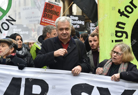 12 12 15 Stop the War Demo at Bbc Broadcasting House Portland Place Stop the War Chair Andrew Murray with Lindsey German National Convenor Stop the War Coalition