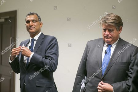 03 09 15 the Evening Standard Tory Mayoral Hustings at Royal Geographic Society Syed Kamall Academic Chairman of the European Conservatives and Reformists and Mep For London with Stephen Greenhalgh Businessman and Deputy Mayor For Policing and Crime