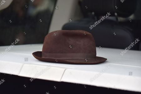 13 08 15 the Funeral of George Cole at Reading Crematorium George Cole's Trilby