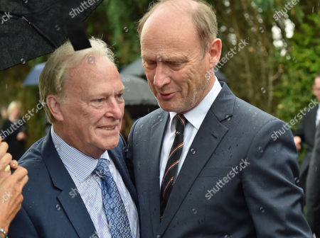 13 08 15 the Funeral of George Cole at Reading Crematorium Dennis Waterman and Patrick Malahide Who Played Ds Albert Chisholm in Minder