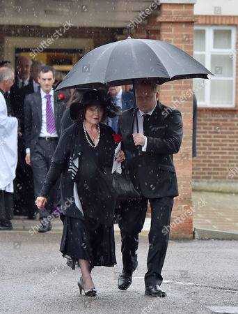 13 08 15 the Funeral of George Cole at Reading Crematorium George Coles Widow Penny Morrell