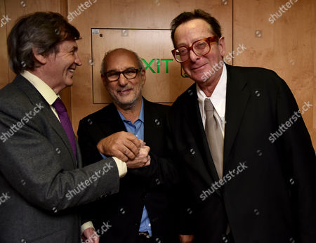 08 12 15 the Josephine Hart Poetry Hour at the British Library Lord Melvin Bragg Alan Yentob with Lord Maurice Saatchi