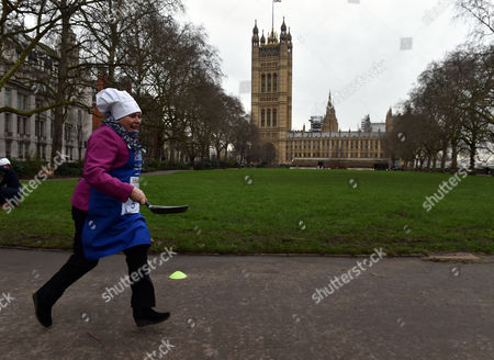 09 02 16 the Rehab Parliamentary Pancake Race at Victoria Tower Gardens Millbank Westminster London Baroness Susan Kramer