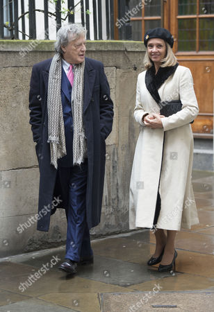05 03 16 the Wedding Blessing of Rupert Murdoch and Jerry Hall at St Brides Church Fleet Street City of London Sir Tom Stoppard and His Wife Sabrina Guinness