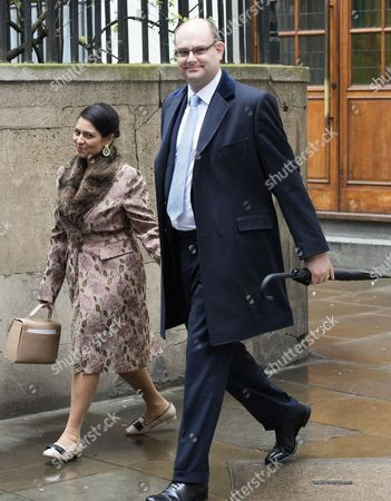 05 03 16 the Wedding Blessing of Rupert Murdoch and Jerry Hall at St Brides Church Fleet Street City of London the Rt Hon Priti Patel Mp and Her Husband Alex Sawyer