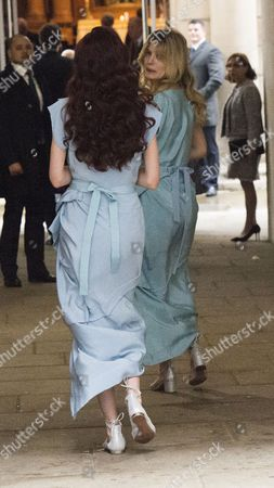 Stock Photo of 05 03 16 the Wedding Blessing of Rupert Murdoch and Jerry Hall at St Brides Church Fleet Street City of London Elizabeth Jagger & Georgia May Jagger