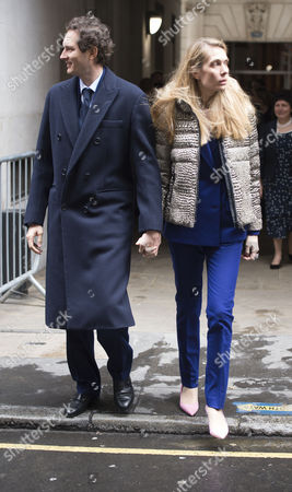 Stock Picture of 05 03 16 the Wedding Blessing of Rupert Murdoch and Jerry Hall at St Brides Church Fleet Street City of London John Elkann and His Wife Lavinia Borromeo