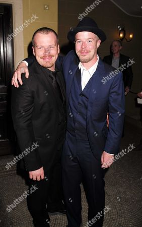 Stock Picture of 27 08 15 Transfer of Mcqueen to Theatre Royal Haymarket After Party at the Cafe Royal Mcqueen Actor Stephen Wight (r) and His Understudy Kevin Wathen (l)