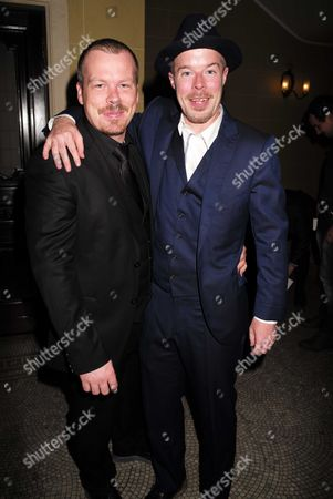 Stock Photo of 27 08 15 Transfer of Mcqueen to Theatre Royal Haymarket After Party at the Cafe Royal Mcqueen Actor Stephen Wight (r) and His Understudy Kevin Wathen (l)