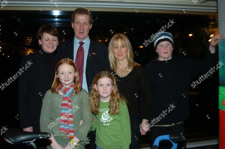 Triathlon Launch Party at the Park Lane Hilton Hotel in Aid of the Leukaemia Reserach Fund Alastair Campbell with His Partner Fiona Miller and Their Children Grace & Cullum with Lindsy & Hope Merritt (alastair is Competing in the Triathlon and Raising Money in the Memory of John Merritt and His Daughter Ellie)