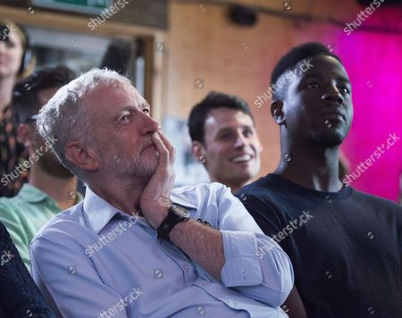 01 09 15 Jeremy Corbyn Vision of the Future of Art at the Arcola Theatre Dalston London Jeremy Corbyn with Jermain Jackman
