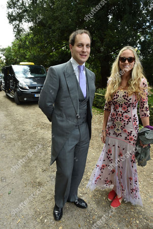 14 05 16 Wedding of Alexander Spencer-churchill and Scarlett Strutt at St Peter's Church Stutton Suffolk Lord Freddie Windsor & Florence Brudenell-bruce