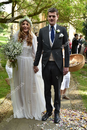 14 05 16 Wedding of Alexander Spencer-churchill and Scarlett Strutt at St Peter's Church Stutton Suffolk the Bride and Groom
