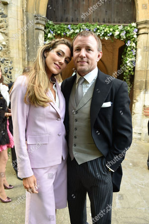 14 05 16 Wedding of Alexander Spencer-churchill and Scarlett Strutt at St Peter's Church Stutton Suffolk Guy Richie & His Wife Jacqui Ainsley
