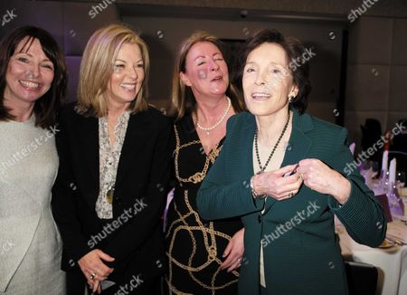 28 01 16 Wellbeing of Women Annual Lunch Debate at the Royal College of Physicians Regents Park London Kay Burley Mary Nightingale Well Being of Women Chief Executive Fiona Leishman and Dame Mary Archer