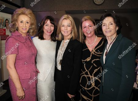 Stock Image of 28 01 16 Wellbeing of Women Annual Lunch Debate at the Royal College of Physicians Regents Park London Lady Estelle Wolfson Kay Burley Mary Nightingale Well Being of Women Chief Executive Fiona Leishman and Dame Mary Archer